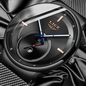 LIGE Mens Watches 2019 New Fashion Casual Black Quartz Watch Men Unique Dial Sport Waterproof Male Clock Relogio Masculino+Box CX200804
