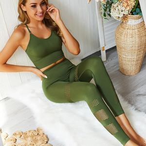 Usura di estate Fitness Girl ad asciugatura rapida yoga gilet Hollow senza saldatura MeTrousers Yoga Outfits signore Sport completi pantaloni stretti Suit