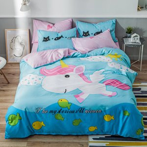 Twin Queen size 4Pcs Unicorn Dinosaur Duvet Cover Bed sheet 100%Cotton Soft Breathable Durable Bedding set for Children Boys