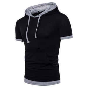 디자이너 남성 후드 가짜 두 조각 단색 남성 후드 스웨터 캐주얼 짧은 소매 슬림 옴므 의류
