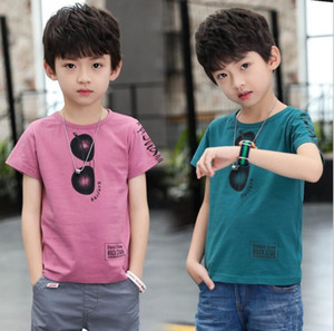 New Boys' summer T-shirt summer new fashion and handsome glasses printed Pullover manufacturer wholesale size 120-170cm