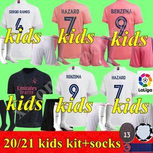 2020 2021 Jugend REAL MADRID Trikots 20 21 Fußball-Trikot GEFAHR SERGIO RAMOS BENZEMA VINICIUS camiseta Fußballhemd Uniformen Kinder Assemblies