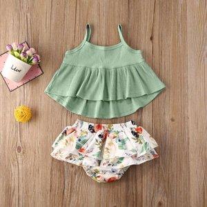 0-24M del bambino recentemente adatta infantile neonate copre gli insiemi Verde fisso senza maniche Vest Tops + Shorts floreali di stampa 2pcs Outfits