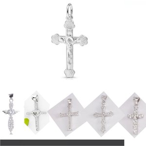 Jesus Cross Heart Necklace Pendant Solid Real 925 Silver Pendants Pave CZ Crystal Men Women for Necklace DIY Jewelry Making