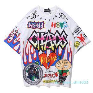 Aolamegs T Shirt Men Graffiti Cartoon Printed Men Tee Shirts Short Sleeve T Shirt Fashion High Street Tees Summer Streetwear d03