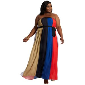 Strapless Sexy Bohemian Dress Women's Summer New Beach and Vacation Dresses Plus Size With Sashes Pleats Materials Dress