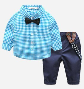 Boys' Autumn suit 2020 new casual children's Cross Border Long Sleeve Plaid shirt and children's backpack pants