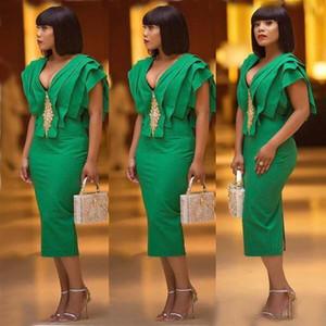 2021 Green Cocktail Dresses Sheath V Neck Ruffled Tea Length Prom Dress Formal Evening Gowns Tiered Top Arabic Dubai Nigeria Party Wear