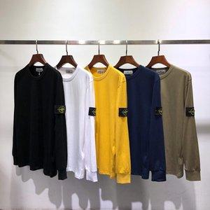 manga 20SS STONE verão Long Island Tees homens logotipo redondo e mulheres em torno do pescoço capuz T-shirt do desenhador Pares ocasionais 8102 bordado