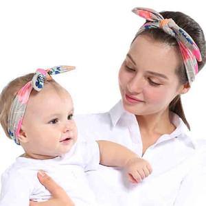 Bayan Çocuk hediye olacak ve kumlu için 2pcs / set Yumuşak Pamuk Anne Bebek Tavşan Kulakları Kafa Bow Şapkalar anne kızı Moda Aksesuar