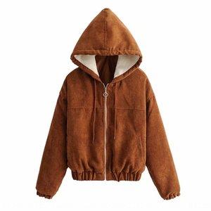 cotone imbottito vestiti di cotone velluto a coste cappotto Wick cerniera cappotto con cappuccio cotone imbottito vestiti 2019 autunno giacca cachi delle donne del lungo manicotto