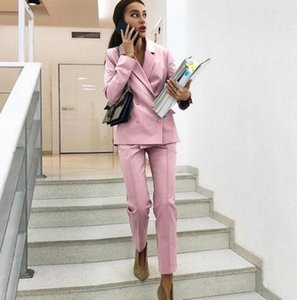 FashionProfessionTracksuit two piece women sets Double Breaseted Elegant Jacket and Pants Ladies Blazer and Trouser Workwear