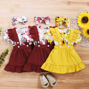 Kids Floral Clothing Sets Girls Sweet Rose Sunflower Print Romper Top + Suspender Skirt Headbands 3pcs set Boutique Children Clothes M2273