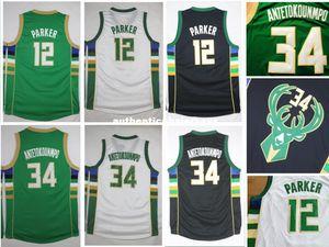 NEW Antetokounmpo Jersey # 12 Jabari Parker Weiß Grün Schwarz Günstige Basketball Jerseys, Stickerei Logo, Top-Qualität, S-XXL Ncaa Colleg