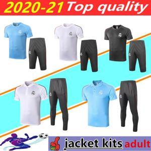 20/21 Real Madrid Futebol Camisas Manga Curta Polo Set 2020 2021 Real Madrid Hazard Benzema Camisa Modric Futebol 3/4 Calças Treinamento Terno