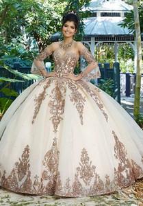 Dulce 16 rosados de la princesa vestidos de quinceañera 2020 vestido de bola formal del concurso de manga larga de tul para niñas Vestidos De 15 Anos