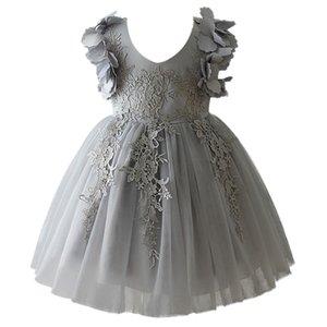 Lace Infant Baby Girl Birthday Party Dresses Formal Wedding Flower Dressbaptism Easter Gown Toddler Princess Petals Dress T200713