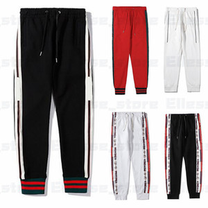 Designer Pants 20ss Mens marca Sports Pant Moda Stripe Side Sweatpants Joggers Calças Casual Streetwear