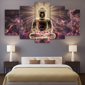 Wall Art Canvas HD Stampato Frame poster Living Room Decor 5 Pezzi Buddismo astratta Immagini statua del Buddha Pittura