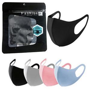 Lavável Máscara Facial Máscara reutilizáveis cobrir a boca Elastic pano de protecção Escudo para adultos Crianças com Inglês Retail Bag Package