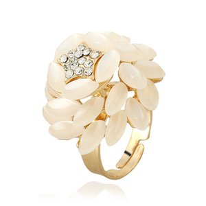 10 Pcs Gold Plated Layer Flower Cat Eye Stone Finger Ring for Women with Rhinestone Unique Jewelry