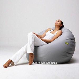 Grau tragbar faule Bohnen-Beutel-Abdeckung Erwachsene sitzen Couch Sofas Spiel Sitz Lounge-Staub-Schutz Ottoman Sitze Nn1J #
