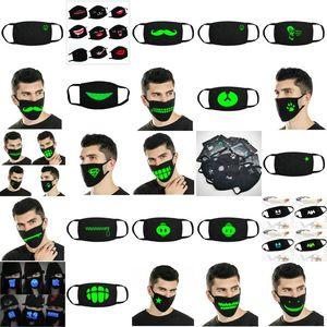 Glow Masks Doublewood 6 Cool Luminous Unisex Face Mouth Mask Black Cotton Doublewood 6 Luxurious Discount Off jjxh EGkvx