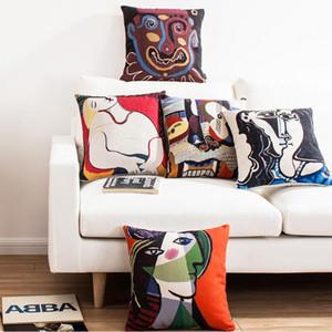 Decorativa Throw Pillow Case Capa Pintura Praça Impresso Forma Capa de Almofada para o sofá Início Capa De Almofadas 45x45cm