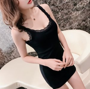 Pure cotton camisole women's new lace mid-long Lace dress slim fit sleeveless hip bottoming dress