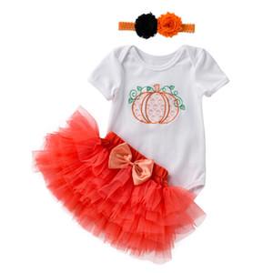 INS Детские Туту Юбка с бантом Паук Boo Romper оголовье 3шт девушки Halloween Pumpkin платье Дети Хеллоуин костюм принцессы партии для одежды
