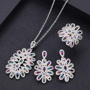 fashion trendy Wedding Necklace Earrings For Women Accessories Full Cubic Zirconia Bridal Jewelry Sets pendientes mujer moda T200507