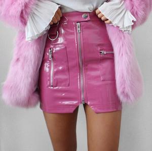 2020 Korean Faux leather Skirts Womens White Street Style A Line Pu Skirt Purple High Waist Steampunk Mini Skirts w903