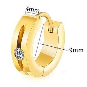 Anti-Allergic Titanium Steel Earrings for Women Korean Fashion Gold Silver Hoop Earrings Men Buckle Tide Zirconia Jewelry oorbel