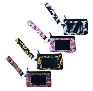Sacchetti di immagazzinaggio Mini Girasole Leopard Stampato Portafoglio in neoprene passaporto borsa Blanks Holder Borse Wristlets storage con portachiavi DHD406