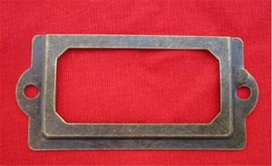 Главные античной латунь Металл Этикетки Прицепной Рамка Кабинет Ящик Box Case File Имя держатель карта Кабинет Ящик Box Case
