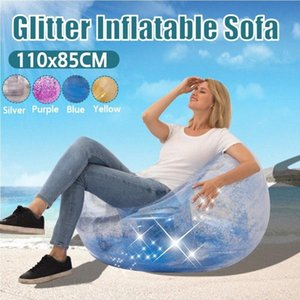 La bolsa de frijol Lazy Sofá cama inflable plegable reclinable al aire libre sofá silla de lentejuelas para adultos transparente heces esférico engrosamiento 6Qp5 #