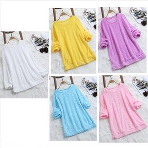 Women's plush solid color long sleeve Coat Women's plush solid color long sleeve T-shirt Top Coat T-shirt top