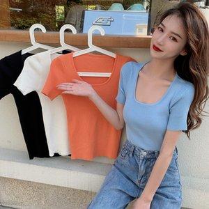 Rt9nX 2020 Estate maglieria nuova maglia coreana Top knitwearstyle Internet Celebrity stesso stile breve slim fit U top manica corta collare t-sh