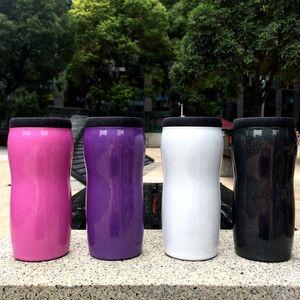 Ankunft in New 335ml Glitter-Dosenkühler Edelstahl Tumbler Regenbogen Can Insulator Vacuum Insulated Kälte Isolierung kann Kostenloser Versand Flasche