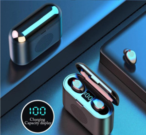 Surround Ses Hoparlör ile 1 TWS Mini 5.0 kablosuz Kulaklık hoparlör akıllı led ekran Spor Stereo Kulaklık Kablosuz olarak F9 2