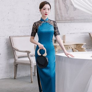 New Arrival Sexy Chinese qipao Elegant Satin Silk Traditional high Split cheongsam lace short sleeve Vintage Wedding Dress