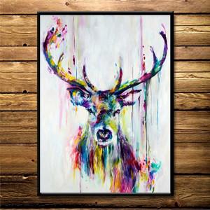 Nordische Aquarell Rotwild-Kopf-Poster Druck moderner abstrakter wilder Tier-Leinwand-Malerei Wandbilder für Wohnzimmer Büro Wanddekoration