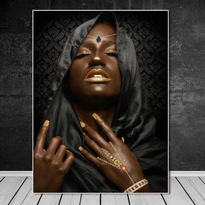 Black Woman with Gold Necklace and Jewelry Poster and Print on Canvas Wall Art Painting Portrait Pictures for Room Home Decor