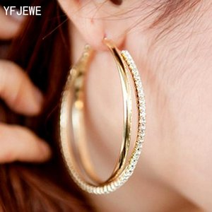 New Big Hoop Earring For Women Sale Fashion Big Round Hoop Earrings Simple Pierced Silver Gold 2 Colors For Evening Party #E008
