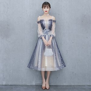 Fashion Sequins Cocktail Dresses Blue Dream Star Banquet Formal Gown Vestidos Formales Cortos Homecoming Dresses cheongsam