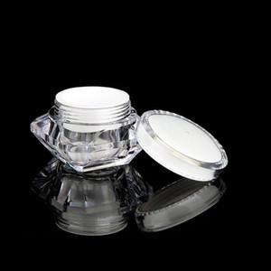 15g / ml Diamante Estilo Pot Acrílico Cosmetic Jar vazio Sombra Maquiagem Creme Lip Balm frasco LJJP125 Packaging Amostra