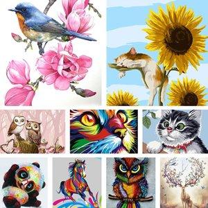 Diy Digital Oil Painting Splendid Deer, Cat, Sunflower, Landscapee 40*50 Frameless Color Hand-painted Living Room Bedroom Decoration Paint