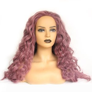 Natural Long Body Wavy Dark Purple Wig Glueless High Temperature Fiber Synthetic Lace Front Wig for Women
