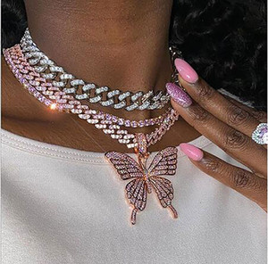 14K Iced Out Butterfly Pendant Necklace 9mm Pink Cuban Chain Cubic Charm Pink Tennis Chain Necklace Zircon Men Hiphop Jewelry