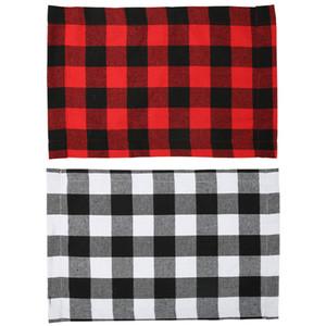Ekose Placemat Noel Dekorasyon Kırmızı Siyah Ekose Tablo Çatal 44 * 29cm Plaka Yeri Mat Masa Örtüsü Noel Ev Parti Süsleri GGA3562-2